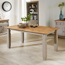 Grey Corona Pine Dining Kitchen Table Solid Wood Two Tone Distressed Waxed