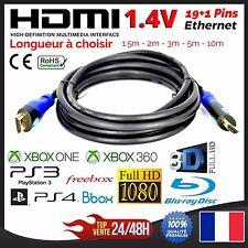 Cable HDMI 1.4V 3 mètres Ethernet PS3 PS4 XBox HD TV 3D BluRay Full HD 1080p