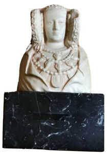 "Vintage 7.2"" Tall Lady Of Elche (Elx) Dama De Elche Bust On Black Marble Base"