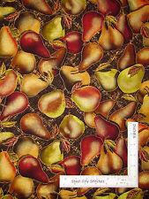 Kitchen Fruit Pears Food Gold Cotton Fabric Kanvas Studio Sunflower Fields Yard