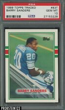 1989 Topps Traded Football #83T Barry Sanders Detroit Lions RC Rookie HOF PSA 10
