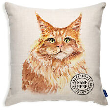 More details for personalised ginger cushion cover cat pillow portrait kitten maine coon kcc31