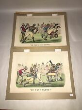 Original Currier & Ives Print Boxing Boxer Prints De Fust Knock Down Blood