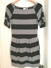 Vintage 80s Style PIPER & BLUE Black Gray Striped Above Knee Pleated Dress S / M