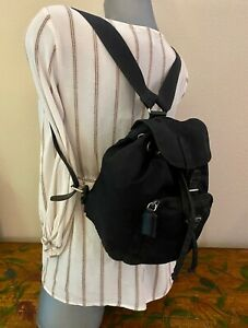 PRADA Small Vintage BACKPACK BLACK Tessuto NYLON Back Pack AUTHENTIC! #XX833 O