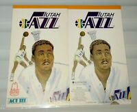 Vintage UTAH JAZZ 2 Note Scribble Scratch Pads MALONE STOCKTON HORNACEK RUSSELL