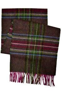 "Brooks Brothers Mens Red Multi Plaid Merino Wool Rectangle Scarf 74 x 12"" 8105-5"