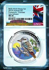 2019 P Berlin Show Australia COLORED Kookaburra Silver NGC MS 70 1oz $1 Coin ER