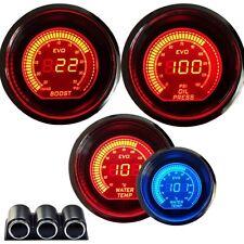 "HS 2""52mm CAR DIGITAL BLUE/RED LED BOOST+OIL PRESS+WATER TEMP METER GAUGE +POD"