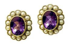 ER282- Genuine 9K Yellow Gold Natural Amethyst & PEARL Cluster Stud Earrings