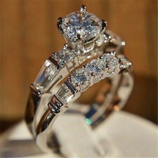 Shiny 925 Silver White Sapphire Exquisite Bridal Marriage Engagement Ring Set