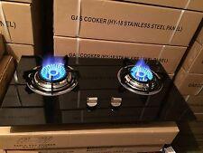 Brand new double burner glass panel LPG stove or cook top + 2 m hose & regulator