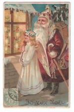 CPA 1906 Père Noel Hotte Barbe Blanche Costume Rouge Union Postale Universelle