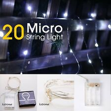 LIDORE® Micro LED 20 Cold White Lights with Timer, Battery Operated on 7.87ft L