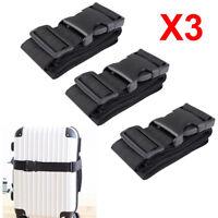 3PCS Luggage Suitcase Strap Baggage Backpack Bag Buckle Strap Travel Belt Black