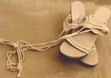 Vintage Sandals Ecru Lace Up Womens 8.5 Party Wedding New Sexy Victoria's Secret