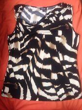 EPISODE Animal Print Sleeveless Cream & Black Summer Flattering TOP Size LARGE