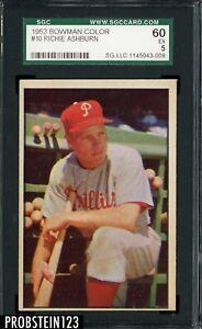 1953 Bowman Color #10 Richie Ashburn Phillies HOF SGC 60 EX 5