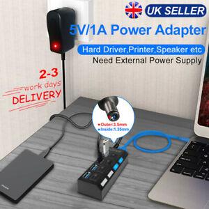 UK 4 Port USB 3.0 High Speed HUB Splitter Box W/ ON/OFF Switch AC Power Adapter