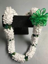 Hawaiian White Ribbon Pikake Lei Green Rosebud Luau Gift