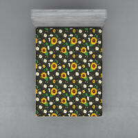 Botanical Flower Fitted Sheet Cover with All-Round Elastic Pocket in 4 Sizes