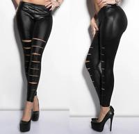FLIRT Slashed Ripped Leggings in PU Wet Look Black One Size UK 8 - 12 (rst121)