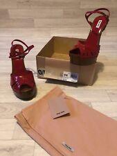 Miu Miu (Prada) Shoes High Heel Patent Leather Red Brown Sandals UK7.5 EU40.5
