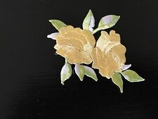 Sew on & iron on  patches(small twin rose-yellow)