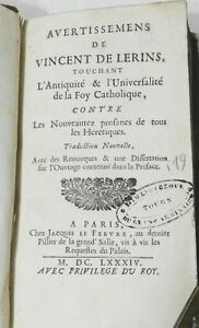 ***** RARE : AVERTISSEMENTS DE VINCENT DE LERINS... FOI CATHOLIQUE - EO 1684 ***