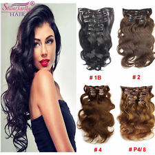 Full Head Wavy Clip in Hair Extensions Human Hair 7Pcs Thick Remy Clip in Hair