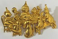 J.J. JJ Jonette Signed Birthday Tea Party Animal Gold Tone Brooch Pin Cake