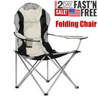Portable Folding Camping Chair Outdoor Fishing Picnic BBQ Stool with Cup Holder