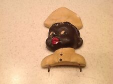 Vintage Black Americana Chalkware Chef Key Towel HOlder Used