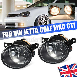 Pair Front Bumper Driving Fog Light with Bulbs For VW Golf Jetta Gti MK5 06-09