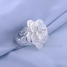 STATEMENT FLOWER RING, Silver Plated, Thumb/Wrap ADJUSTABLE Filigree