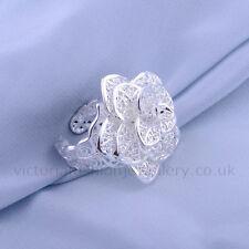 Declaración de la flor anillo, plata esterlina plateado, thumb/wrap Ajustable De Filigrana