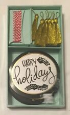 Cr Gibson Gift Tags And Accessories, Happy Holidays, Gold Tassels, New