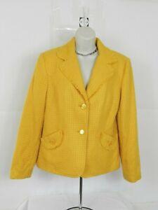 Requirements Womens Size 12 Blazer Jacket Yellow Mustard Career Work