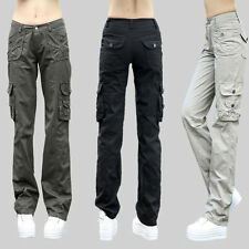 Women/Lady Cargo Trousers Pants Straight Leg Military Army Casual Pocket Outdoor