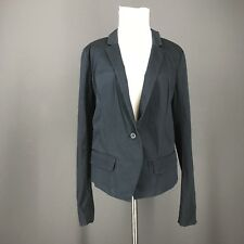 FREE PEOPLE Blazer 10 Blue Navy Khaki Crop Jacket M Medium