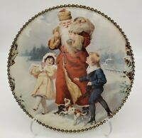 Vintage Victorian Flue Cover Featuring St. Nick ~ Santa Children Dog Christmas
