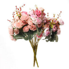 1x 21 Heads Artificial Fake Rose Bouquet Silk Flower Leaf Wedding Home Decor #2