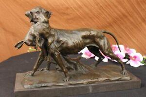 Echt Guss Bronze Marmor Statue Waffen Hund Retriever Hase Pokal Nicht Harz Gips