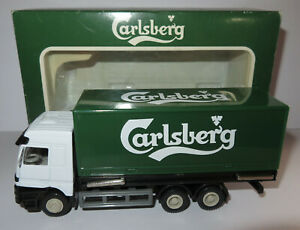 WELLY MB ACTROS CAMION BIERE CARLSBERG, benne amovible L=15 cm 1/50 #9771 IN BOX