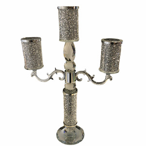 3 Tier Set Of Silver Crushed Diamond Crystal Filled Candle Holder Decor Gift New