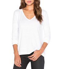 $150 RAG & BONE WOMEN'S WHITE LONG SLEEVE V-NECK SOFT THEO TOP TEE Sz L