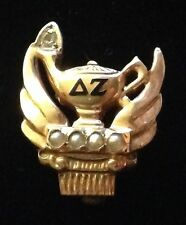 Vintage 10K Gold, Diamond, Pearl & Enamel Pin Delta Zeta Sorority 1962