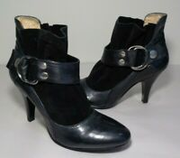 Nine West Size 5.5 M IDOLIZE Black Leather Heeled Ankle Boots New Women's Shoes