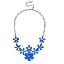 Lux Accessories Faceted Blue Floral Flower Pave Crystal Statement Necklace