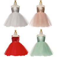 Baby Girls Kids Sequins Tulle Party Dress Wedding Bridesmaid Dresses Gown Fancy
